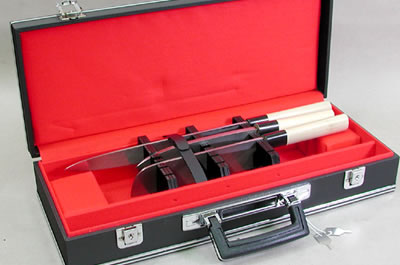 Black leather covered hard case for 6 kitchen knives