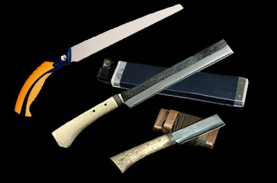 竹挽鋸210 竹割鉈両刃240 小型竹細工鉈片刃左90