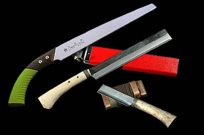 竹挽鋸240 竹割鉈両刃150 小型竹細工鉈片刃左90