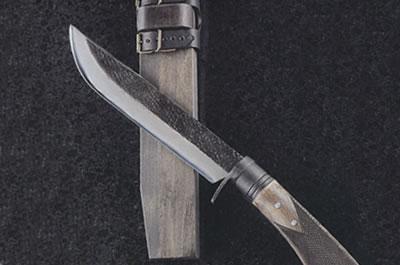 土佐鍛ダマスカス山遊鉈 漆黒造り 180 両刃