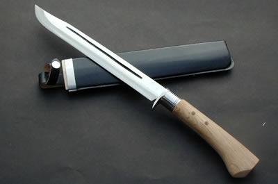 土佐狩猟剣鉈300 両刃 白鋼 磨 樫柄 ステンツバ 黒レザー木鞘 晶之作