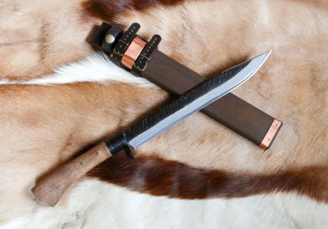 土佐古式狩猟ナイフ270 両刃 青2鋼 黒槌 樫柄オイルステン 黒ツバ 木鞘バンド付 晶之作