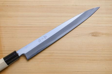 柳刃包丁210mm片刃白鋼PC柄霞研