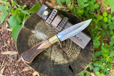 土佐アウトドア剣鉈120 青su 磨き 真鍮輪 チェッカー入り
