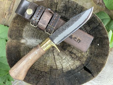 土佐アウトドア剣鉈120 青2 黒槌 真鍮輪 樫柄