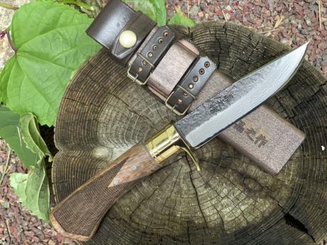 土佐アウトドア剣鉈120 青2 黒槌 真鍮ツバ輪 チェッカー入り