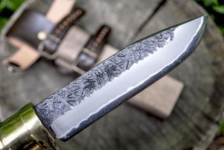 土佐アウトドア剣鉈120 DM青2 黒槌 黒ツバ輪