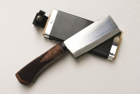 竹割鉈120 両刃 黒 青2鋼 柄鞘付